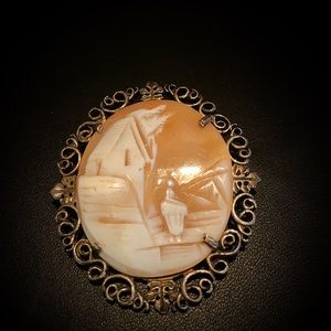 Antique SS filagree cameo lady house pin pendant